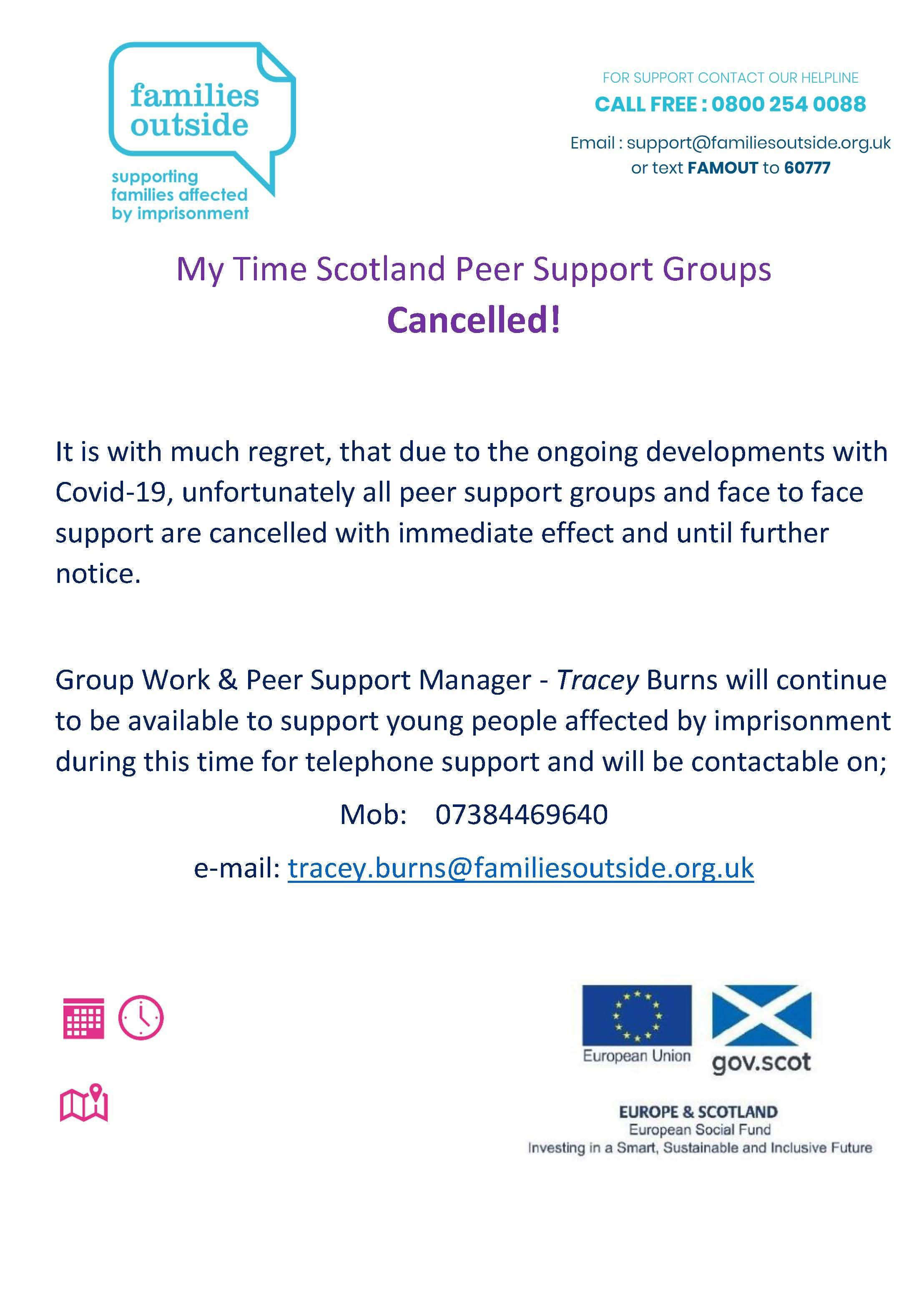 Families Outside Support Covid 19 Group Work   Peer Support Update