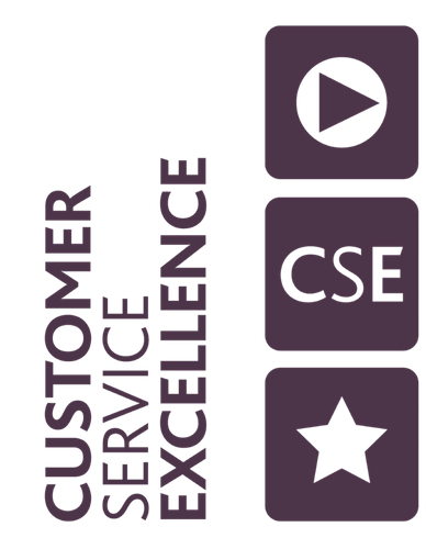 Customer Service Excellence logo in purple